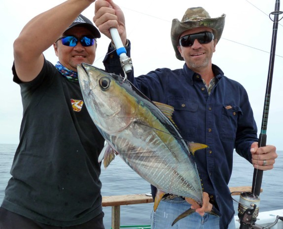 Bob with his first Yellowfin Tuna brought onboard by a home made gaff!