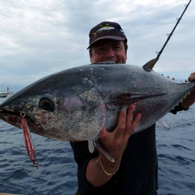 Capt Don with a bluefin that had a taste for iron.